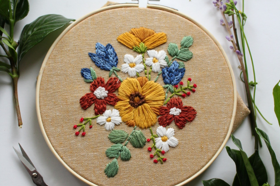 summer flower embroidery pattern