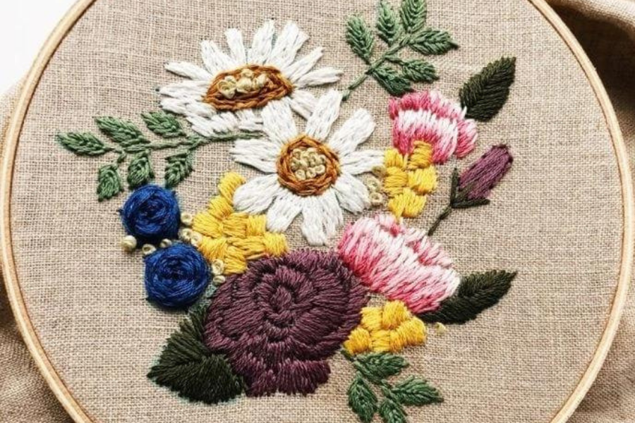 embroidery flower pattern bouquet for beginners