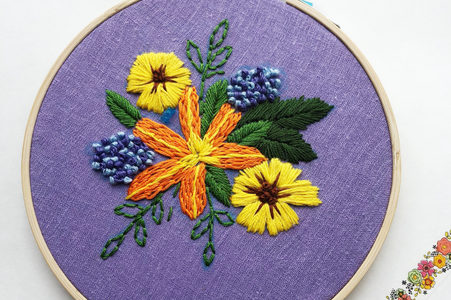 flower embroidery class