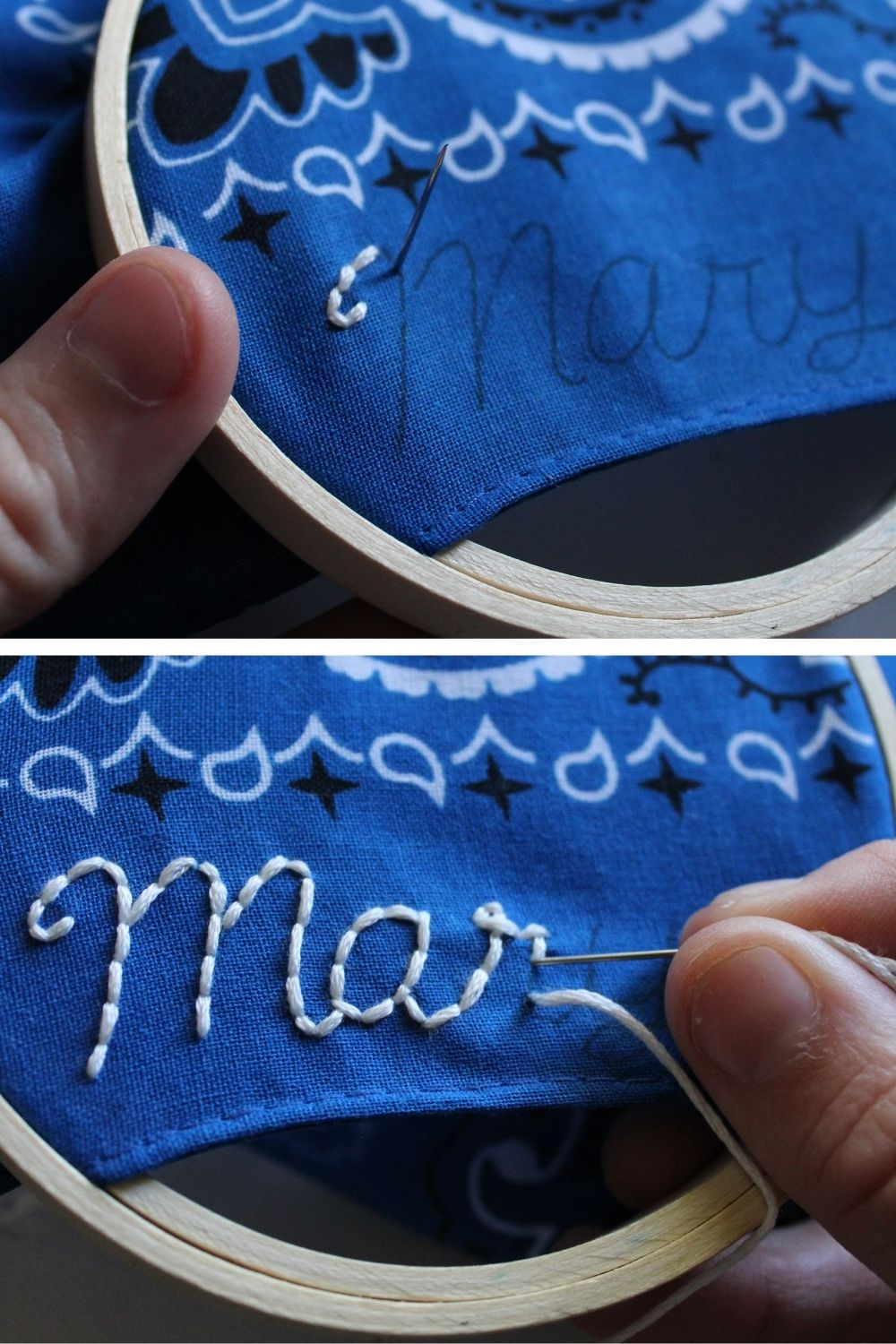 how to embroider handkerchiefs using the back stitch